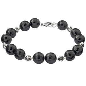 Silver Plated Faceted Onyx Bead Bracelet