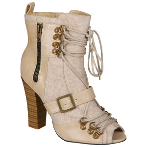 Stylist Pick 'Zoe' Women's Peeptoe Boot  - Beige