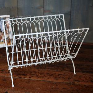 Nkuku Mena Magazine Rack - Distressed White - 38 x 37 x 28cm