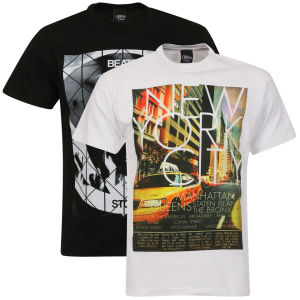Cotton Soul Men's NYC and Beats Don't Stop T-Shirt 2-Pack - White/Black