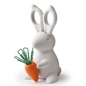 Desk Bunny Scissors and Clips - White