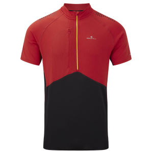 RonHill Men's Trail Short Sleeve Zip T-Shirt - Cardinal Red/Black