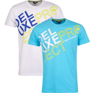 Henleys Men's Helios Twin Pack T-Shirts - Turquoise Multi & White Multi