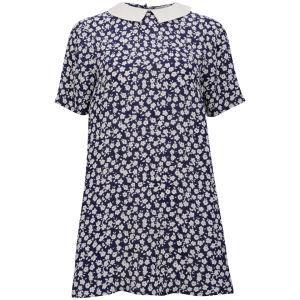 Neon Rose Women's Floral Print Collar Dress - Blue