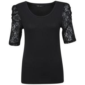 Brave Soul Women's Mischa Lace Sleeve Top - Black