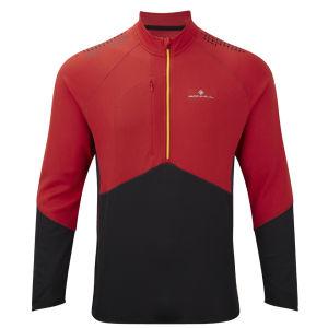 RonHill Men's Trail Long Sleeve Zip T-Shirt - Cardinal Red/Black