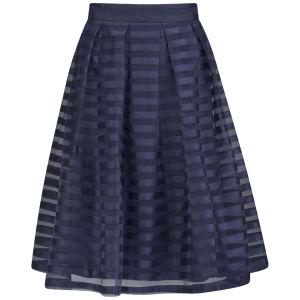 Girls On Film Women's Striped Sheer Overlay Midi Skirt - Blue