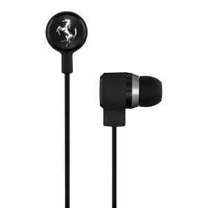 Ferrari T150i Cavallino Heritage Earphones by Logic3 with Three Button Mic - Black