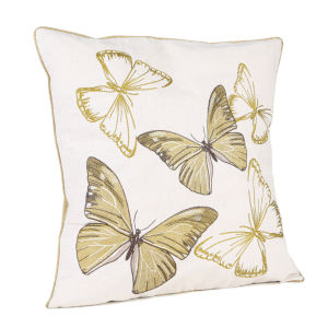 Malini Embroidered Butterflies On Faux Linen Cushion