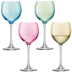 LSA Polka Wine Glass Pastel - Assorted 4 x 400ml