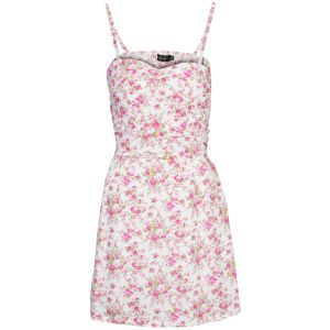 Club L Women's Strappy Floral Skater Dress - White