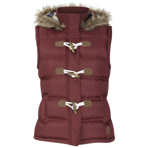 Toyko Laundry Women's Fur Trim Hooded Gilet - Wine