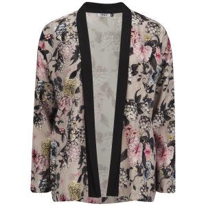ONLY Women's Eah Flower Print Kimono - Pumice Stone
