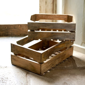 Nkuku Ahanti Mango Wood Storage Boxes - Natural - Large (46x30cm)