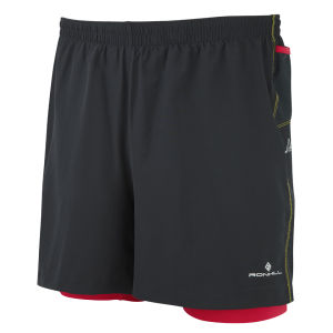 RonHill Men's Trail Cargo Twin Shorts - Black/Cardinal Red