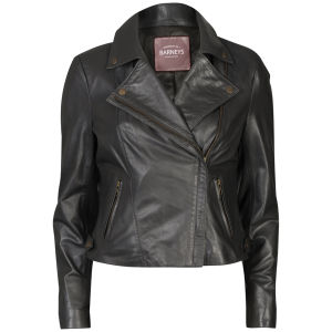 Barneys Women's Real Leather Biker Jacket - Anthracite