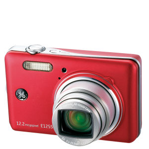 GE E1255W Digital Camera - Red (12.2MP, 5 x Optical Zoom, 3 Inch LCD)