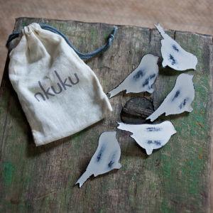 Nkuku Bird Pegs Set of 6 - Distressed Grey / Cream