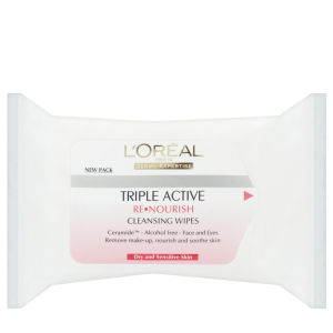 L'Oreal Paris Dermo-Expertise Triple Active Re-Nourish Cleansing Wipes - Dry & Sensitive Skin (25 Wipes)