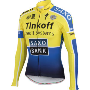 Tinkoff Saxo Team Replica Thermal Long Sleeve Jersey - Yellow/Blue