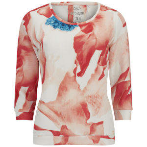ONLY Women's High Photo Floral Top - Cloud Dancer