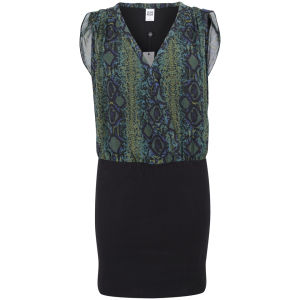 Vero Moda Women's Snake Effect Wrap Front Dress - Green