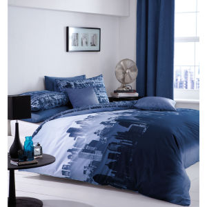 Catherine Lansfield City Scape Bedding Set - Blue