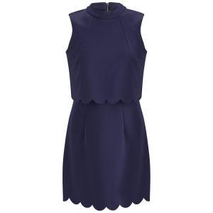 Lavish Alice Women's Scuba Scalloped Mini Dress - Navy