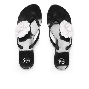 Mel Women's Honey Flower Flip Flops - Black Contrast