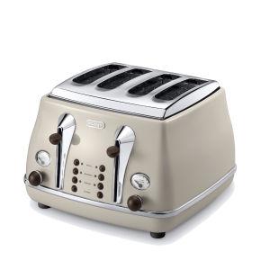 De'Longhi CTOV4003 Icona Vintage 4 Slice Toaster - Beige High Gloss