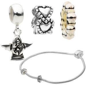 Amadora Silver Bracelet & Three Charm Set