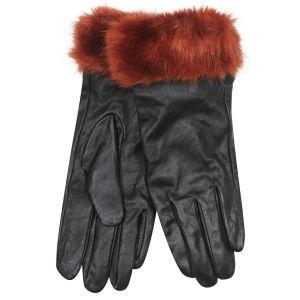 Women's Faux Fur Leather Gloves - Burnt Orange
