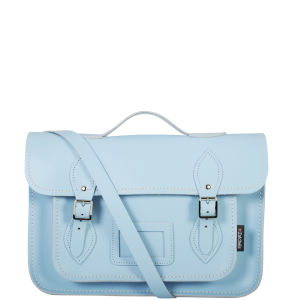 Zatchels 13 Inch Pastel Leather Satchel with Handle - Baby Blue