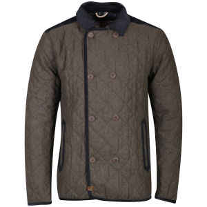 Tokyo Laundry Men's Wessott Double Breasted Quilted Jacket - Khaki Marl