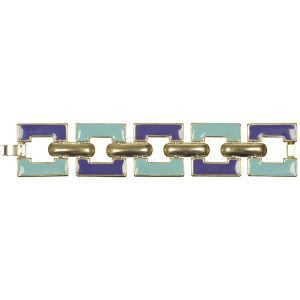 Lancetti Vintage Gold Plated Enamel Chunky Link Bracelet