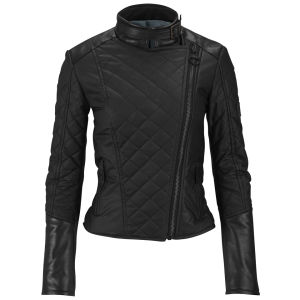 Knutsford Women's Leather Trim Wax Cotton Biker Jacket - Black