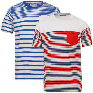 Tom Frank Men's 2-Pack T-Shirt - Bright Blue/Red & White/Navy