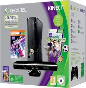 Xbox 360 250GB Kinect Holiday Bundle (Includes Kinect Adventures, Kinect Sports, Dance Central 2, 1 Month Xbox Live)