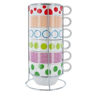 Café Latte Cups XL Dots and Stripes Tower - Ceramic