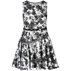 Club L Women's Floral Monochrome Belted Skater Dress - Black/White