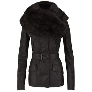 Knutsford Women's Wax Cotton Field Jacket with Detachable Toscana Collar - Dark Brown