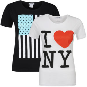 Taylor Women's 2-Pack Usa And I Heart Ny Graphic T-Shirts - Black & White
