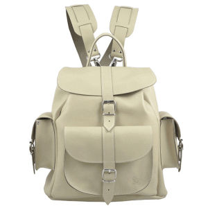 Grafea Moonstone Beach Medium Leather Rucksack - Stone