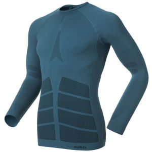 Odlo Men's Evolution Warm Long Sleeve Crew Neck Base Layer - White/Blue/Black