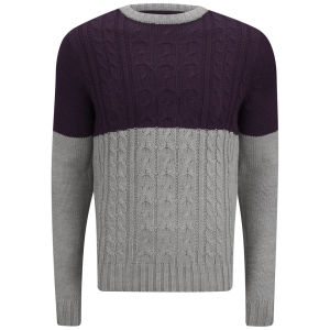 Soul Star Men's Pepper Sync Colour Block Knit Jumper - Light Grey Marl