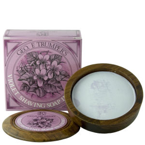 Trumpers Violet Hard Shaving Soap in Wooden Bowl - 80g