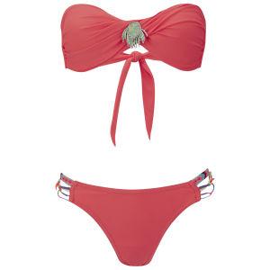 Amenapih Women's Swim Coral Bandeau Bikini - Coral