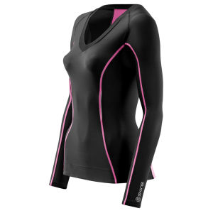 Skins Women's A200 Long Sleeve Top - Black/Pink