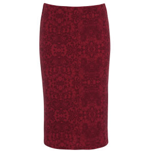 Damned Delux Women's Red Lace Pencil Skirt - Red