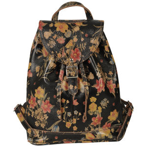 Zatchels Printed Leather Duffel Bag - Brown Floral